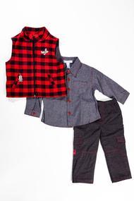 Комплект для мальчика: утеплённая жилетка, рубашка и утеплённые штанишки, хлопок, код 55477, арт 3520