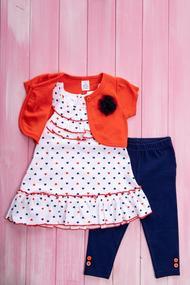Комплект для девочки: Болеро с коротким рукавом, туника и леггинсы, хлопок, код 55886, арт 410