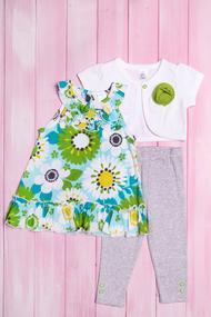 Комплект для девочки: Болеро с коротким рукавом, туника и леггинсы, хлопок, код 55963, арт 407