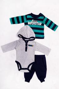 Комплект для мальчика: бодик с длинным рукавом, штанишки и кофточка, хлопок, код 56053, арт 161