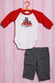 Детский костюмчик: бодик с длинным рукавом и штанишки, хлопок, код 56093, арт 110