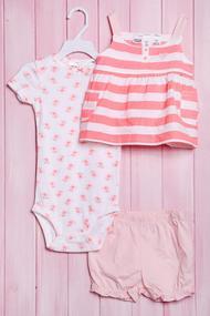 Комплект для девочки: бодик с коротким рукавом, маечка и шортики, хлопок, код 56097, арт 120