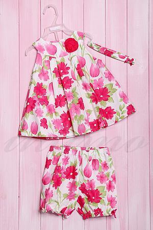 Комплект летний для девочки: платье, шортики и повязка, хлопок Wandees, США 210 фото