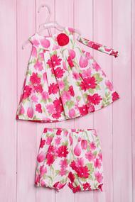 Комплект летний для девочки: платье, шортики и повязка, хлопок, код 56145, арт 210
