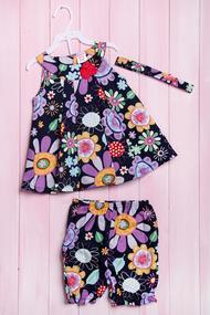 Комплект летний для девочки: платье, шортики и повязка, хлопок, код 56178, арт 211