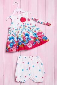 Комплект летний для девочки: платье, шортики и повязка, хлопок, код 56179, арт 212