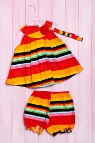 Комплект летний для девочки: платье, шортики и повязка, хлопок, код 56181, арт 214