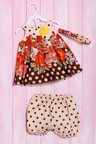 Комплект летний для девочки: платье, шортики и повязка, хлопок, код 56182, арт 215