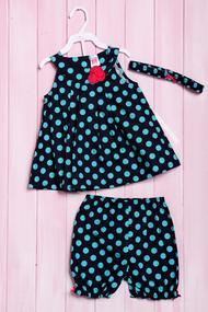 Комплект летний для девочки: платье, шортики и повязка, хлопок, код 56183, арт 216