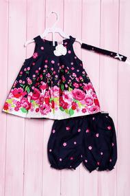 Комплект летний для девочки: платье, шортики и повязка, хлопок, код 56184, арт 218