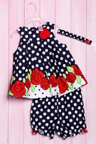 Комплект летний для девочки: платье, шортики и повязка, хлопок, код 56185, арт 217