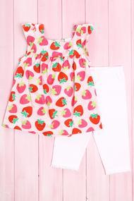 Комплект для девочки: Туника с коротким рукавом и леггинсы, хлопок, код 56039, арт 133