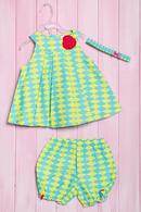 Комплект летний для девочки: платье, шортики и повязка, хлопок Wandees 56145 - фото №1