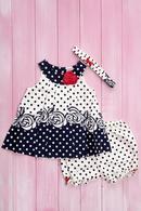 Комплект летний для девочки: платье, шортики и повязка, хлопок Wandees 56145 - фото №3